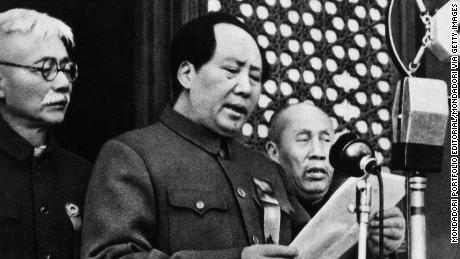 The Chinese Communist Party leader Mao Zedong declaring the birth of the People's Republic of China in Beijing on October 1, 1949.