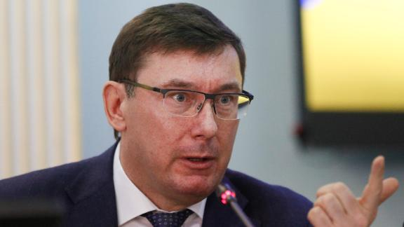 Yuriy Lutsenko speaks during a briefing at the Central Election Commission in Kiev on March 12, 2019.