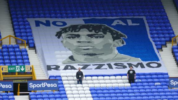 The banner that will be on display in the Howard Kendall Lower Gwladys Street End of Goodison Park.