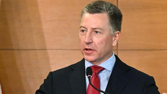 US Ambassador to NATO and US special envoy for Ukraine Kurt Volker speaks during a press-conference in Kiev on July 27, 2019 following his visit in Ukraine. (Photo by Sergei SUPINSKY / AFP)        (Photo credit should read SERGEI SUPINSKY/AFP/Getty Images)