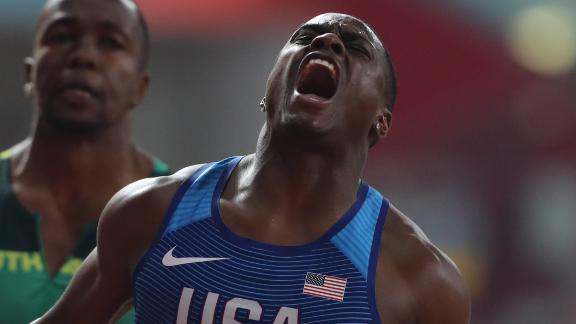 USA's Christian Coleman reacts in triumph after winning 100 meters gold at the World Athletics Championships in Qatar.