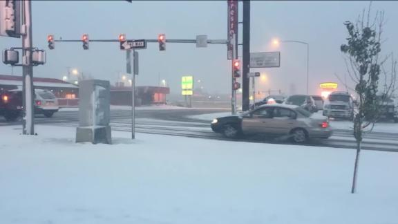 Snowfall in Choteau, Montana.
