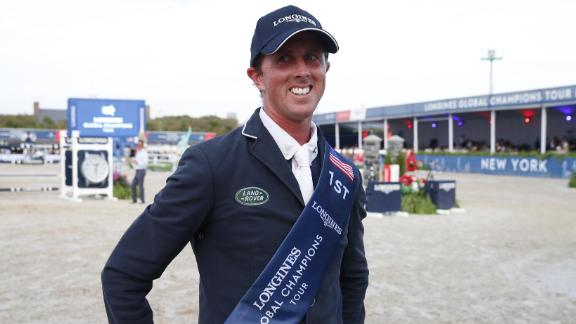 Ben Maher is all smiles after securing the Global Champions Tour overall title with victory in New York.