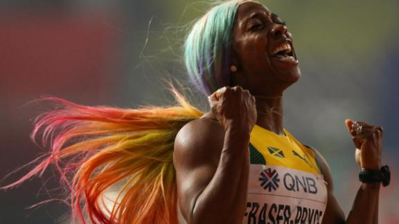 DOHA, QATAR - SEPTEMBER 29: Shelly-Ann Fraser-Pryce of Jamaica celebrates winning the Women's 100 Metres final during day three of 17th IAAF World Athletics Championships Doha 2019 at Khalifa International Stadium on September 29, 2019 in Doha, Qatar. (Photo by Patrick Smith/Getty Images)