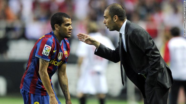Dani Alves played at Barcelona for eight years, including four under Pep Guardiola.