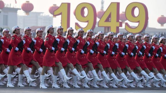 Chinese troops take part in a rehearsal ahead of a military parade in Tiananmen Square in Beijing on October 1, 2019, to mark the 70th anniversary of the founding of the Peoples Republic of China.
