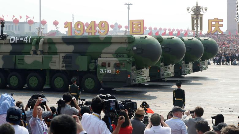 China paraded the powerful DF-41 intercontinental ballistic missile for the first time.