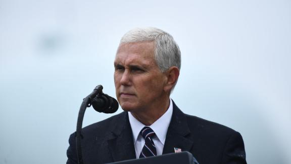 US Vice President Mike Pence speaks during the Armed Forces Welcome Ceremony on September 30, 2019 at Summerall Field, Joint Base Myer-Henderson Hall, Virginia.
