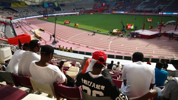 Small pockets of spectators look on during day one of World Athletics Championships in Doha 2019.