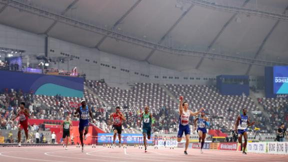 Karsten Warholm wins gold in the men's 400 meters hurdles with just a few thousand spectators looking on.