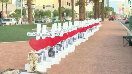 For the anniversary of America's deadliest modern shooting, there are again 58 crosses on the Las Vegas Strip