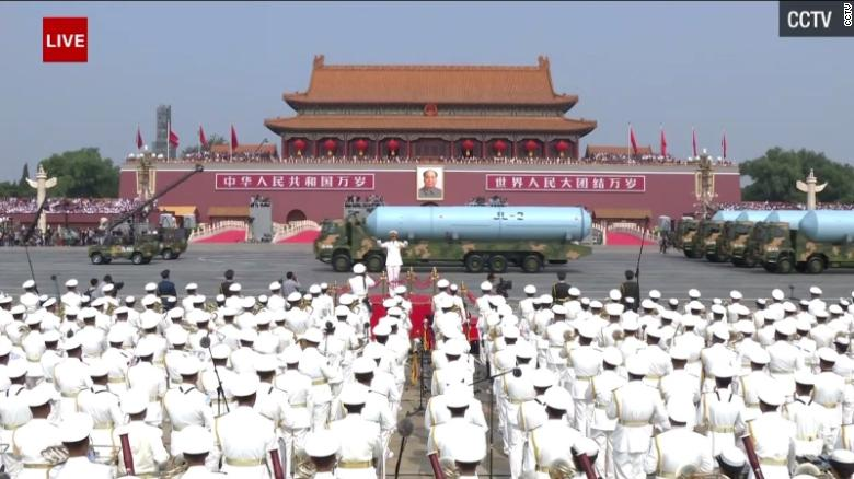 The JL-2 submarine missiles parade down Chang'an Avenue in Beijing.