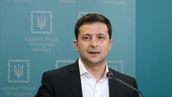 Ukrainian President Volodymyr Zelensky speaks to the media on October 1, 2019 in Kiev, Ukraine.