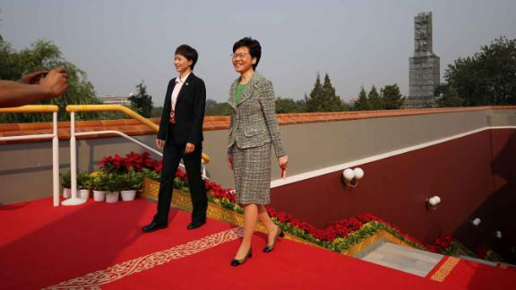 Hong Kong Chief Executive Carrie Lam arrives at the celebrations in Beijing.
