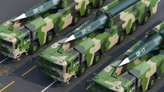 A formation of Dongfeng-17 conventional missiles are featured during the military parade in Beijing.