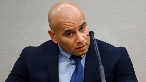 Dallas Police Officer Martin Rivera, who was the police partner of defendant Amber Guyger, testifies on the witness stand as he's questioned by Assistant District Attorney Jason Hermus, Monday, September 23, 2019, in Dallas.