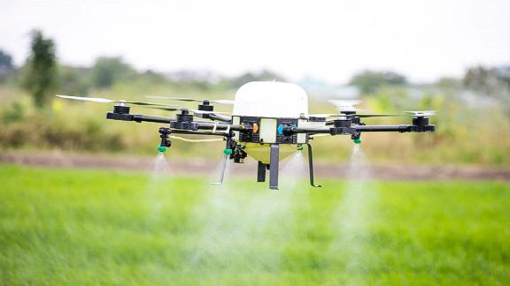 Acquahmeyer in Ghana rents out drones to help farmers locate problems in their fields and reduce pesticide use.