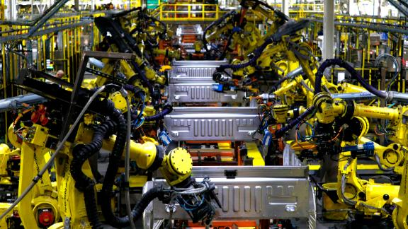 Ford F150 trucks go through robots on the assembly line at the Ford Dearborn Truck Plant on September 27, 2018 in Dearborn, Michigan.  (Photo by Bill Pugliano/Getty Images)