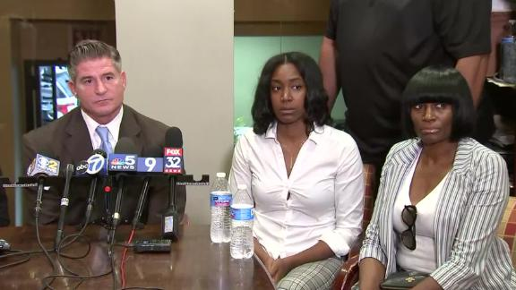 The boy's mother and grandmother, Yvonne and Hope Pinkston, sit with the family's attorney, Dan Herbert, in Chicago on Tuesday, October 1, 2019.