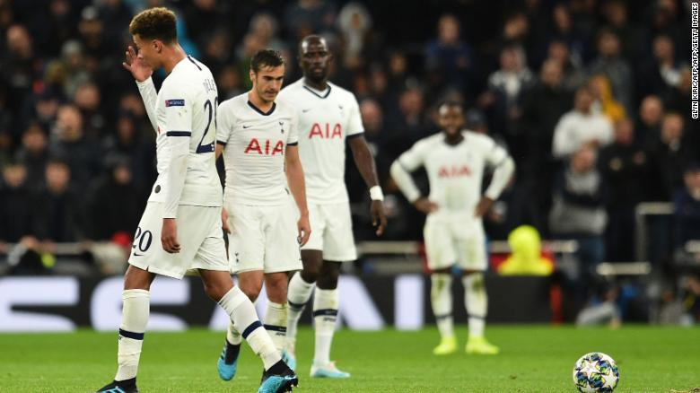 Tottenham players looked deflated after the humiliating defeat.