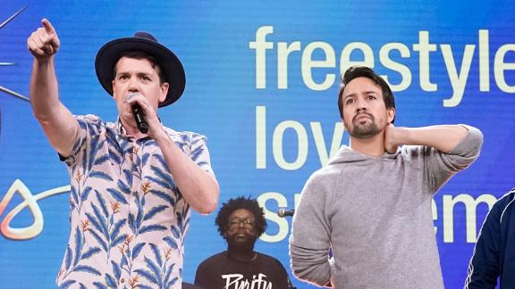 """The cast of """"Freestyle Love Supreme"""" performs on October 1, 2019."""