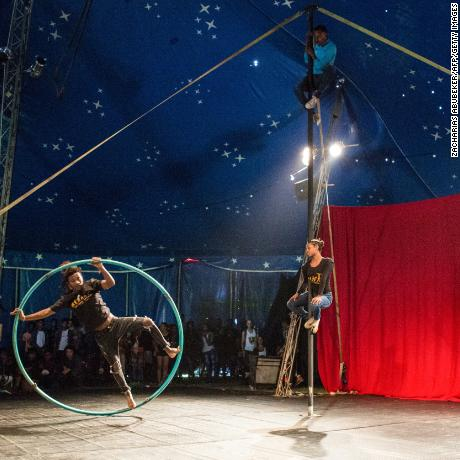 Fekat Circus performing during the second edition of the African Circus Arts Festival in Addis Ababa, on March 2, 2018.