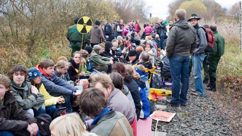 Protesters block railway tracks outside Gorleben in 2010.