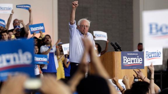 Sanders raises his fist as he holds a rally in Santa Monica, California, in July 2019.