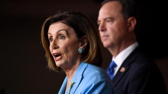 House Speaker Nancy Pelosi and House Intelligence Committee Chairman Rep. Adam Schiff speak at a news conference October 2 on Capitol Hill.