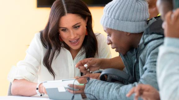 Meghan visited Tembisa township to learn about Youth Employment Services on the final day of the tour in southern Africa on Wednesday.