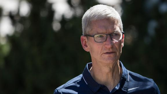 SUN VALLEY, ID - JULY 12: Tim Cook, chief executive officer of Apple, attends the second day of the annual Allen & Company Sun Valley Conference, July 12, 2017 in Sun Valley, Idaho. Every July, some of the world