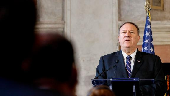 US Secretary of State Mike Pompeo speaks during a joint press conference with Italy's Foreign Minister Luigi Di Maio (not pictured) following their meeting at Villa Madama in Rome on October 2, 2019 . ANSA/FABIO FRUSTACI (ANSA via AP)