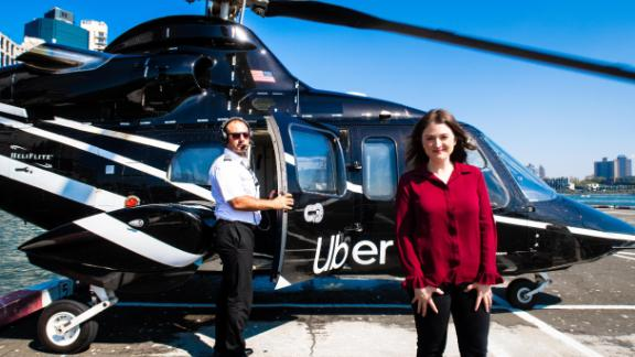 CNN tech editor Samantha Kelly boards the Uber Copter