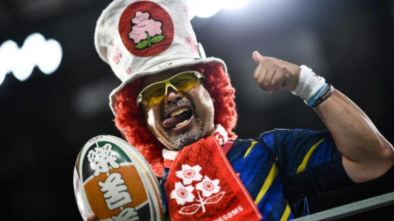 A supporter ahead of the Rugby World Cup game between Wales and Georgia.