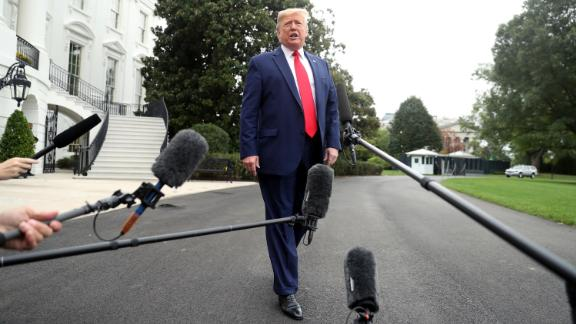 President Donald Trump speaks to members of the media on the South Lawn of the White House in Washington, Thursday, October 3, 2019, before boarding Marine One for a short trip to Andrews Air Force Base, Maryland, and then on to Florida.