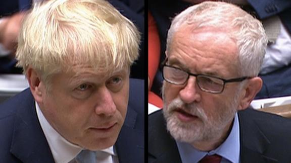 Split screen of Boris Johnson and Jeremy Corbyn