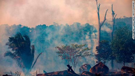 Smokes rises from forest fires in Brazil's Para state on August 27, 2019.