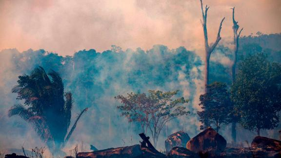 Smokes rises from forest fires in Brazil