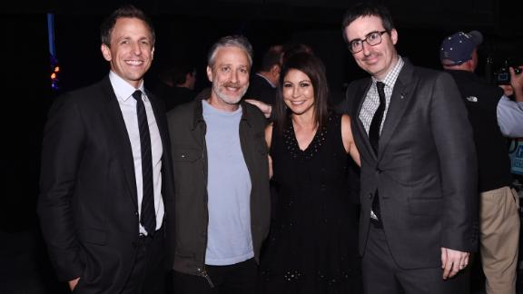 Seth Meyers, Jon Stewart, Caroline Hirsch and John Oliver pose backstage at the New York Comedy Festival in 2015 (Photo by Ilya S. Savenok/Getty Images for Academy of Motion Picture Arts and Science)