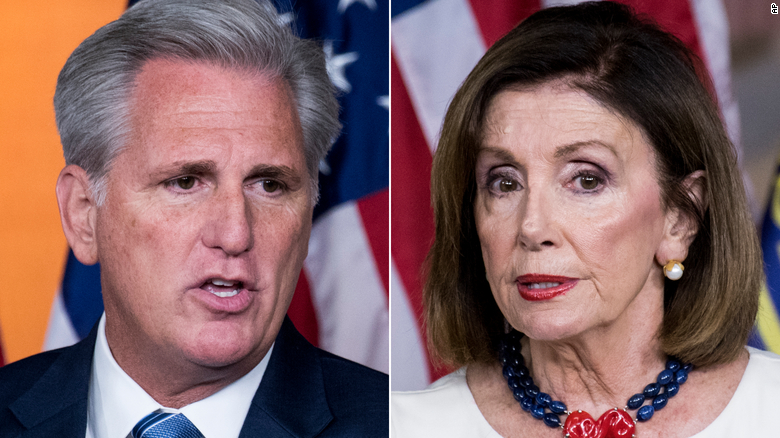 At left, House Minority Leader Kevin McCarthy, who asked House Speaker Nancy Pelosi, at right, to suspend House Democrats' impeachment inquiry on Thursday.