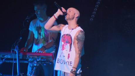 Chris Daughtry is seen here performing on tour.
