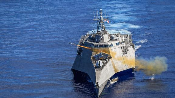 191001-N-FC670-003 PHILIPPINE SEA (Oct. 1, 2019) Independence-variant littoral combat ship USS Gabrielle Giffords (LCS 10) launches a Naval Strike Missile (NSM) during exercise Pacific Griffin. The NSM is a long-range, precision strike weapon that is designed to find and destroy enemy ships. Pacific Griffin is a biennial exercise conducted in the waters near Guam aimed at enhancing combined proficiency at sea while strengthening relationships between the U.S. and Republic of Singapore navies. (U.S. Navy photo by Chief Mass Communication Specialist Shannon Renfroe/Released)