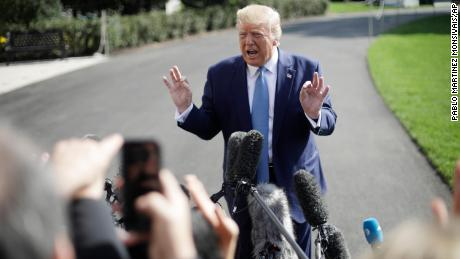 President Donald Trump speaks to the media on the South Lawn of the White House in Washington, Friday, October 4, 2019, before his departure to nearby Walter Reed National Military Medical Center in Bethesda, Maryland.