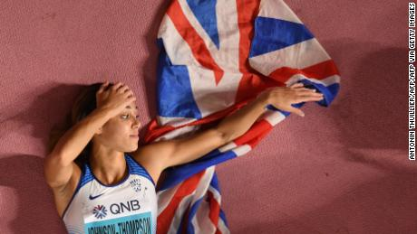 Katarina Johnson-Thompson celebrates after winning the Women's Heptathlon.