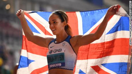 Britain's Katarina Johnson-Thompson was crowned heptathlon world champion in Doha.