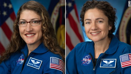 Astronauts Christina Koch, left and Jessica Meir.