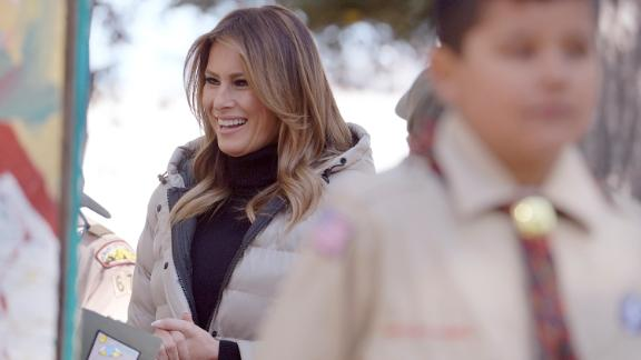 First lady Melania Trump meets with Boy Scouts during a visit to Jackson, Wyoming, Thursday, October 3. Trump later went on a scenic float of the Snake River in Grand Teton National Park.