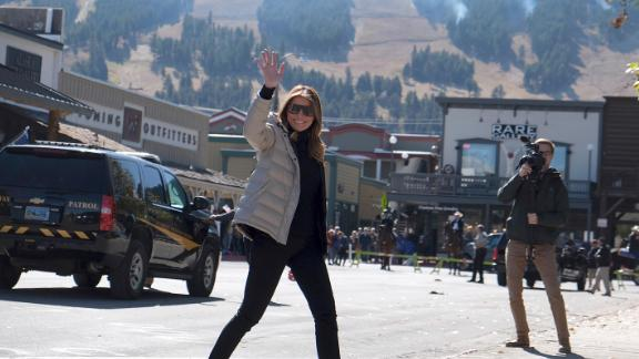 First lady Melania Trump waves to spectators during a visit to Jackson, Wyoming, Thursday, October 3.