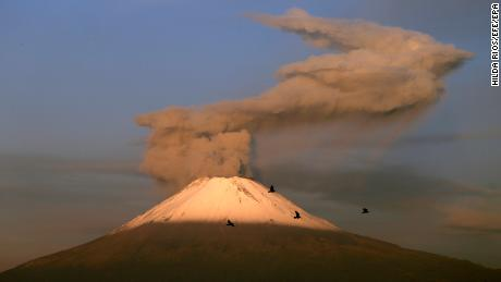 A  view of Popocatépetl's eruptions from the city of Puebla, Mexico, on October 2, 2019.