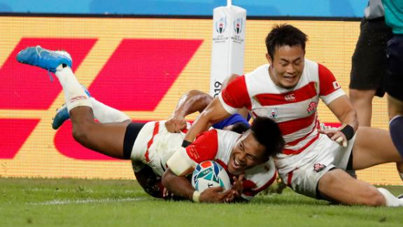 Japan's Kotaro Matsushima reacts after scoring his side's vital fourth bonus-point try in the 39-18 win over Samoa in Pool A.
